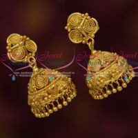 Spiral Design South Indian Handmade Jhumka Earrings Gold Plated Daily Wear Jewellery