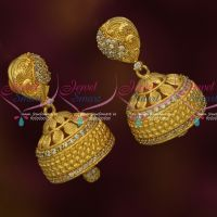 South Indian Jewelry AD Stones Broad Jhumka Earrings Gold Plated Latest Online
