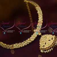 South Indian Thick Metal White AD Stones Attigai Traditional Gold Plated Jewelry Online
