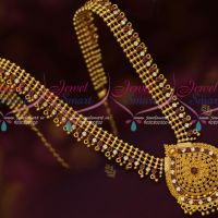 Beads Danglers Design Low Price South Indian Jewellery Haram Gold Plated Latest