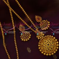 Semi Precious AD Stones Inticately Designed Pendant Set 24 Inches Matte Gold Plated Chain Shop Online