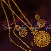 24 Inches Matte Gold Plated Chain AD Semi Precious Stones Casting Pendant Latest Design Online