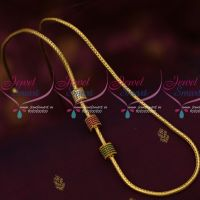 Roll Kodi Chain AD Ruby Emerald  White Cylinder Design Beads South Indian Jewelry Gold Plated Chains