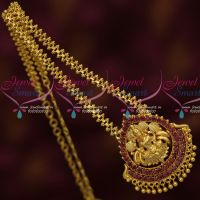 Gold Plated AD Stones Temple Jewellery Chain Pendant South Indian Daily Wear Designs Online