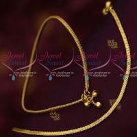 Flat Chain Design Plain Gold Covering Daily Use Anklets South Indian Design Online