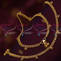 Flexible Chain Beads Danglers Gold Covering Payal Kolusu South Indian Jewellery Online
