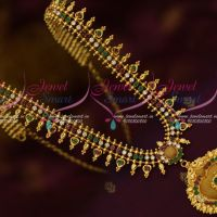 American Diamond Multi Color Stones Kerala Style Gold Plated Covering Jewellery Haram Designs Online