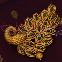 Emerald Green Peacock Fashion Jewelry Matte Gold Plated Hair Clip Collections Online