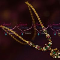 Gold Design Imitation Kids Jewellery Short Necklace Daily Wear AD Collections Online