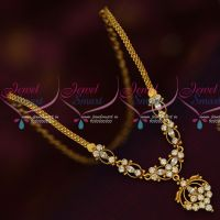 White Stones Gold Design Kids Artificial Jewellery Short Necklace Daily Wear AD Collections Online