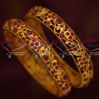 Original Kemp Stones Matte Gold Plated Real Look Traditional Design Jewelry Bangles Online