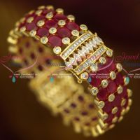 Single Piece Broad Clip Open Ruby Kada Semi Precious Grand Jewelry Design Online