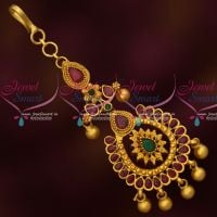 Small Size Forehead South Indian Imitation Jewellery Matte Gold Plated Collections