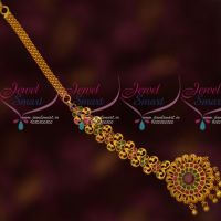 Matte Reddish Gold Plated Long Size Traditional Nethichutti Latest Designs Online