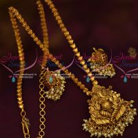 Lord Ganapathy Design Antique Matte Gold Plated Jewelry Chain Pendant Temple Collections
