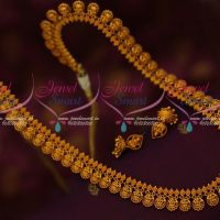 Ruby Stones Matte Laxmi God Engraved Design Haram Collections Latest Traditional