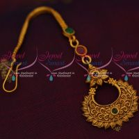 Floral Design Matte Reddish Gold Plated Nethichutti Maang Tikka Latest Jewelry Online
