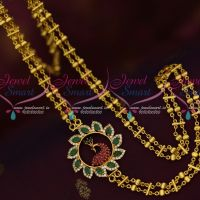 Multi Colour Double Chain Rettai Vadam Mugappu Gold Plated South Indian Jewellery Online