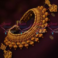 Kharbuja Beads Antique Reddish Plated Broad Jewellery Set Latest Party Wear Necklace Online