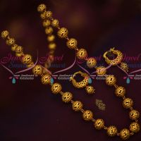 Floral Handmade Copper Beads Antique Gold Plated Mala Bali Earrings Online