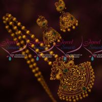 Matte Gold Plated Ball Chain Peacock Pendant Matching Jhumka Antique Finish Jewellery Online