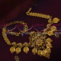 Temple Coin Matte Gold Finish Chain Vanki BajuBand Latest Bridal Jewellery Designs online