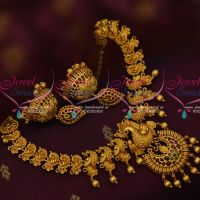 Kemp Jewellery Matte Gold Plated Peacock Necklace Traditional Jhumka Earrings Online