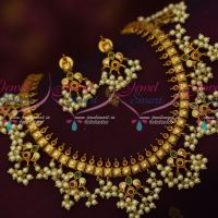 Dull Gold Plated Pearl Jewellery Gutta Pusalu Necklace Traditional Design Imitation Online