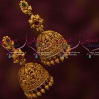 Floral Design Intricately Designed Jewellery Big Size Jhumka Matte Antique Collections