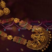 Red Green AD Stone Chain Broad Nagas Temple Pendant Latest Haram Traditional Jewellery Online