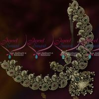 Ruby Emerald Antique Silver Oxidised Plated Jewellery Peacock Broad Latest Trendy Collections Online