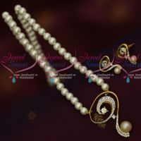 Low Price Trendy Pearl Jewellery Mala AD Pendant Matching Earrings Online
