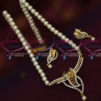 Double Layer Pendant Design Pearl Mala Latest Low Price AD Jewellery Online