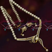 Broad Stylish Pendant Design Pearl Mala Latest Low Price AD Jewellery Online