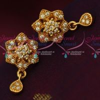 Small Size South Indian Screwlock Daily Wear White Stone Earrings Shop Online