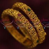 Antique Finish Kada Bangles Screw Open Floral Design Imitation Jewellery Online