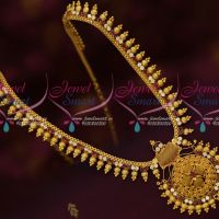 Ruby White AD Stones South Design Kerala Style Gold Covering Jewellery Haram Online