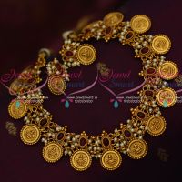 Temple Coin Laxmi God Engraved Matte Gold Plated Kemp Pearl Jewellery Necklace Online