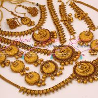 Wedding Bridal Full Set Antique Matte Reddish Temple Grand Jewellery Set Online
