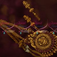 Intricately Finished Temple Pendant Thin Chain Multi Strand Matching Jhumka Earrings Online