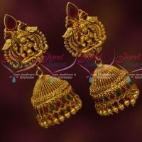 Antique Temple Jewellery Red Green Stones Jhumka Earrings Latest Imitation Designs Online