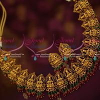 Nakshi Temple Casting Antique Broad Jewellery Set Red Green Drops Earrings Online