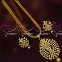 American Diamond Stones Dull Gold Matte Finish Rope Chain Chain Pendant Sets Online