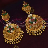 AD Multi Colour Stones South Indian Gold Covering Daily Wear Earrings Online