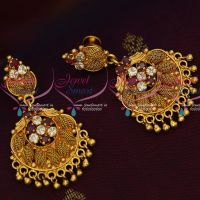 AD Ruby White Stones South Indian Gold Covering Daily Wear Earrings Online