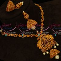 Floral Chain Peacock Pendant Stylish Jewellery Set New Trendy Designs Imitation Jewellery