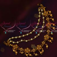 Floral Design Ear Chain Pearl 3 Layer Design Latest Jewellery Accessory Online