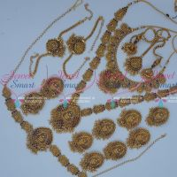 Wedding Bridal Full Set Low Price Antique Matte Reddish Temple Grand Jewellery Set Onlineb