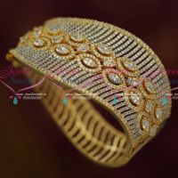 Broad Grand Party Wear Diamond Finish White Stones Bracelet Latest Fashion Jewellery Online