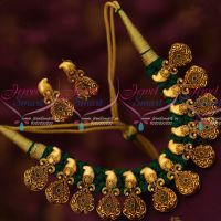 Green Thread Dhaga Necklace Antique Mango Pendants Trendy Fancy Jewellery Collections Online